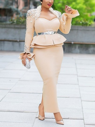 Apricot Patchwork Rhinestone Cascading Ruffle Peplum Bodycon Elegant Party Maxi Dress