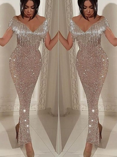 Silver Patchwork Sequin Tassel Off Shoulder Bodycon Mermaid V-neck Sparkly Glitter Birthday Prom Evening Party Maxi Dress