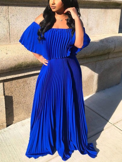 Royal Blue Pleated Off Shoulder Backless Bohemian Beach Wedding Maxi Dress