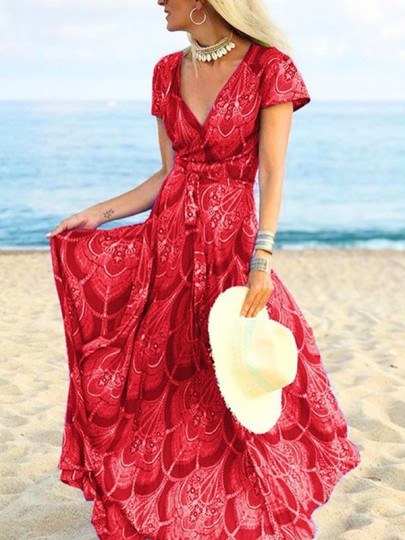 Red Floral Pleated V-neck Bohemian Beach Maxi Dress