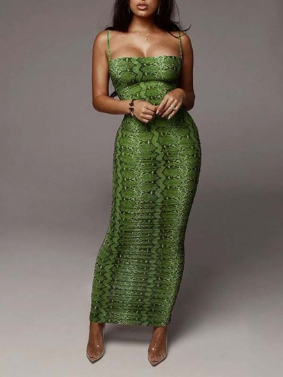 Green Snakeskin Pattern Spaghetti Strap Bodycon Party Maxi Dress