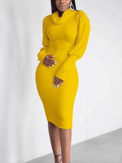 Yellow High Neck Lantern Sleeve Bodycon Elegant Party Maxi Dress