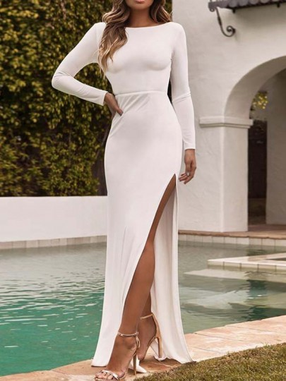 White Thigh High Side Slits Bodycon Mermaid Prom Evening Party Maxi Dress