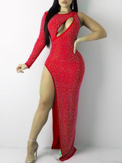 Red Irregular Rhinestone Cut Out Side Slit Banquet Party Sparkly Maxi Dress