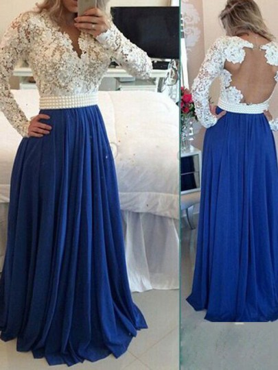 Blue Patchwork Lace Pleated Backless Elegant Prom Evening Party Maxi Dress