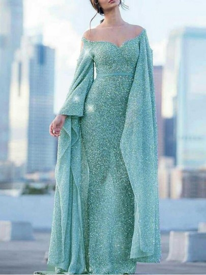 Blue Sequin Off Shoulder Irregular Flare Sleeve Mermaid Sparkly NYE Banquet Party Maxi Dress