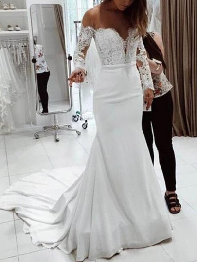 White Patchwork Lace Off Shoulder Mermaid Wedding NYE Banquet Party Maxi Dress