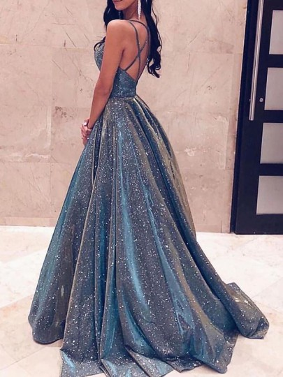 Blue Patchwork Sequin Pleated Backless Sparkly Glitter Birthday Prom Evening Party Maxi Dress