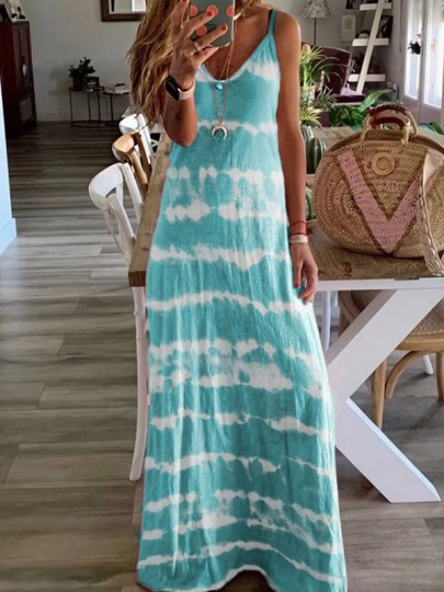 Blue Patchwork Print One Piece Ttrendy Going out Maxi Dress