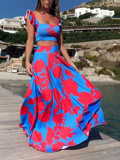 Red Blue Color Block Ruffle 2-in-1 Vintage Fashion Maxi Dress