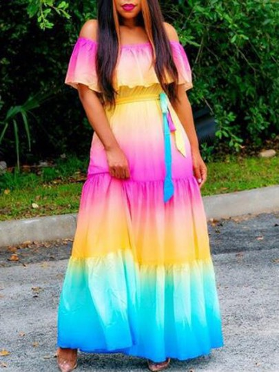 Pink Color Block Ruffle Sashes Off Shoulder Gradient Color Bohemian Maxi Dress