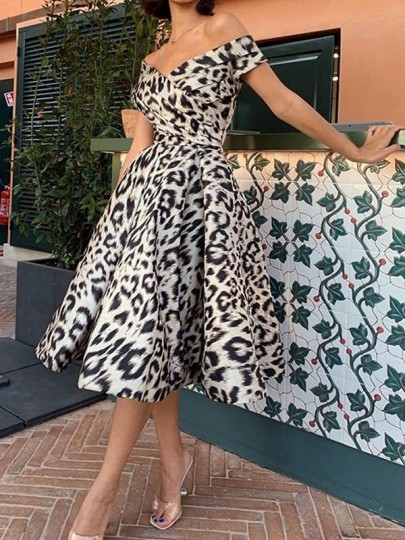 White Leopard Print Off Shoulder Pleated Pockets Tutu Homecoming Party Prom Midi Dress