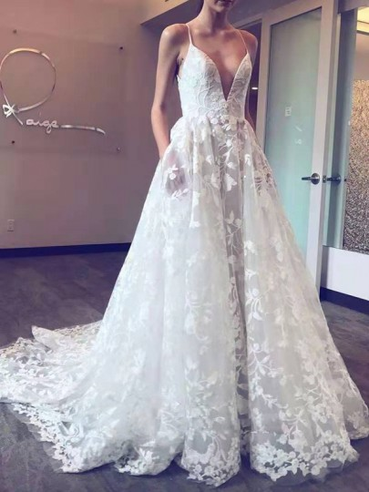 White Patchwork Lace Pleated Backless Spaghetti Strap Prom Evening Party Maxi Dress