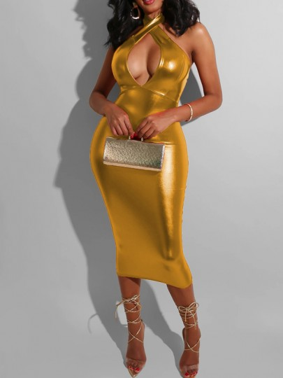 Golden Latex Halter Neck Cut Out Backless Bodycon Party Maxi Dress