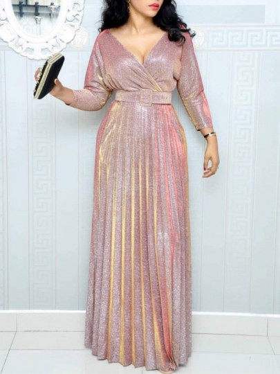 Pink Belt Pleated Sparkly V-neck Long Sleeve Plus Size Banquet Maxi Dress