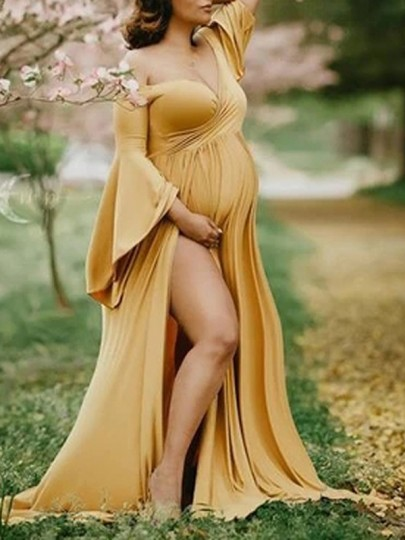 Yellow V-neck Off Shoulder Flare Long Sleeve Double Slit For Babyshower Flowy Maxi Maternity Dress