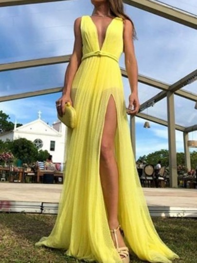Yellow V-neck Thigh High Side Slits Chiffon Flowy Prom Evening Party Maxi Dress