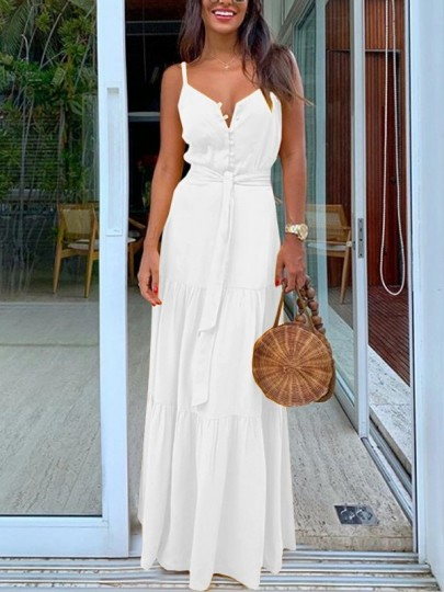 White Buttons Belt Lace-up Shoulder-Strap V-neck Draped Big Swing Flowy Beach Maxi Dress