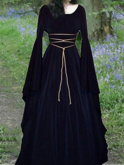 Navy Blue Lace Up Pleated Round Neck Victorian Retro Gothic Witch Cosplay Halloween Party Maxi Dress