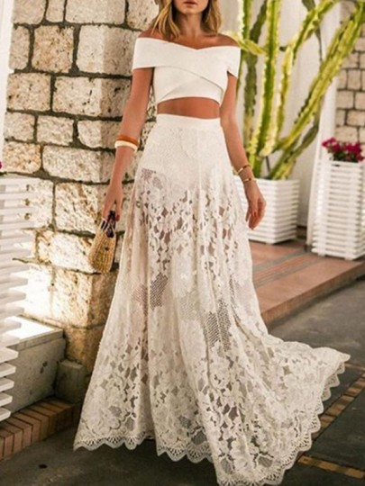 White Off Shoulder Patchwork Lace Cut Out Grenadine Two Piece Bikini Cover Up Big Swing Beach Maxi Dress