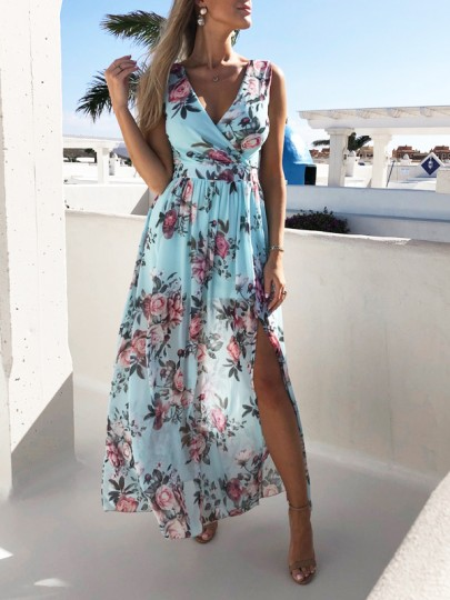Light Blue Floral Print Draped V-neck Sleeveless Slit Beach Bohemian Maxi Dress