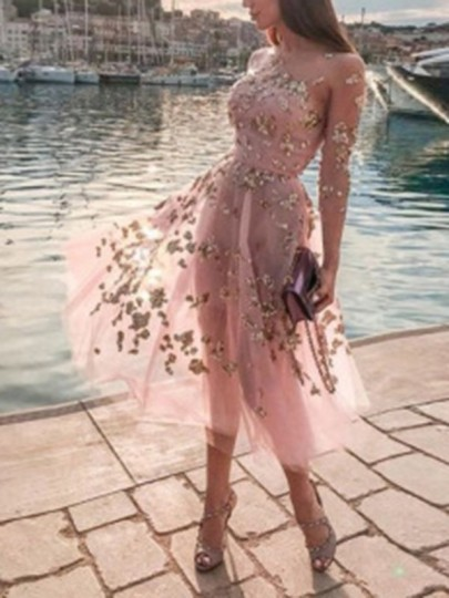 Pink Patchwork Sequin Grenadine Round Neck Long Sleeve Sheer Tulle Tutu Sweet Homecoming Maxi Dress