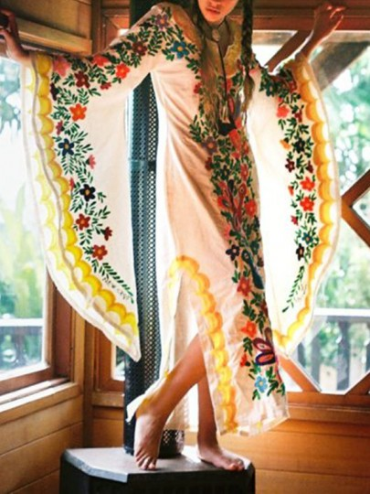 Yellow Mexican Embroidered Print V-neck Flare Long Sleeve Double Slit Bohemian Maxi Dress