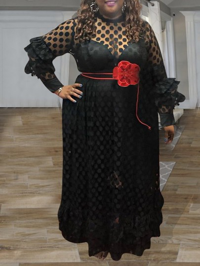 Black Patchwork Layers Of Ruffle Grenadine Polka Dot Print Round Neck Long Sleeve Sheer Plus Size Maxi Dress