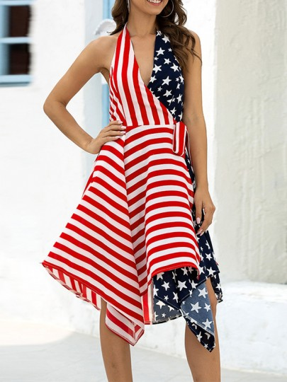 Red American Flag Print Halter Neck Pleated Irregular Independence Day Party Midi Dress