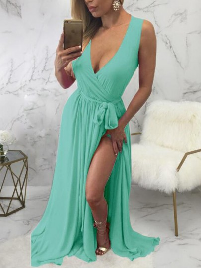 Light Green Sashes Side Slit Deep V-neck Flowy Chiffon Bohemian Maxi Dress