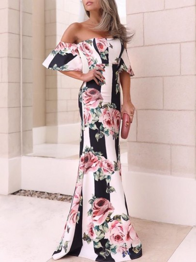 White Striped Rose Floral Print Off Shoulder Short Sleeve Mermaid Prom Maxi Dress