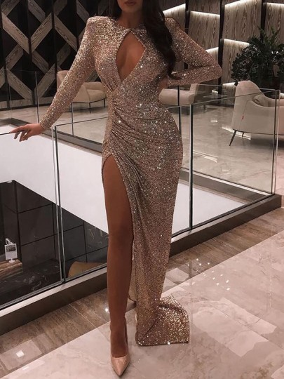 Golden Sequin Cut Out Long Sleeve Ruched Slit Bodycon Glitter Sparkly Birthday Party Prom Maxi Dress