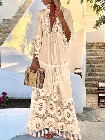 White Patchwork Tassel Lace Eyelet Embroidered V-neck Elbow Sleeve Bohemian Flowy Maxi Dress