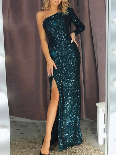 Green One-shoulder Slit Sequin Sparkly Bodycon Long Sleeve Elegant Maxi Dress