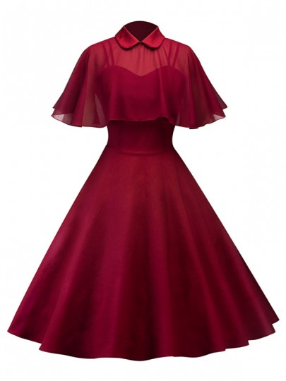 Burgundy Pleated 2-in-1 Spaghetti Strap Cape Peter Pan Collar Party Going out Midi Dress