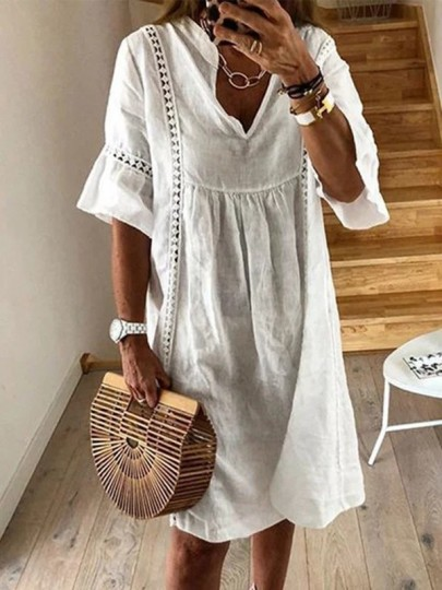 White Cut Out Sweet Comfy One Piece Midi Dress