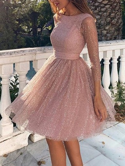 Pink Sequin Glitter Sparkly Grenadine Backless Long Sleeve Elegant Bridesmaid Prom Mini Dress