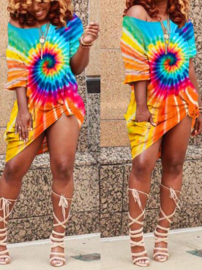 Sky Blue Colorful Irregular Pockets One-shoulder Rasta Jacaima Casual Midi Dress