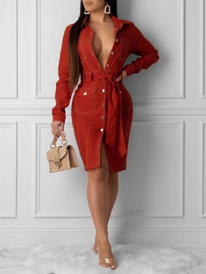 Red Single Breasted Sashes Turndown Collar Bodycon Elegant Party Midi Dress