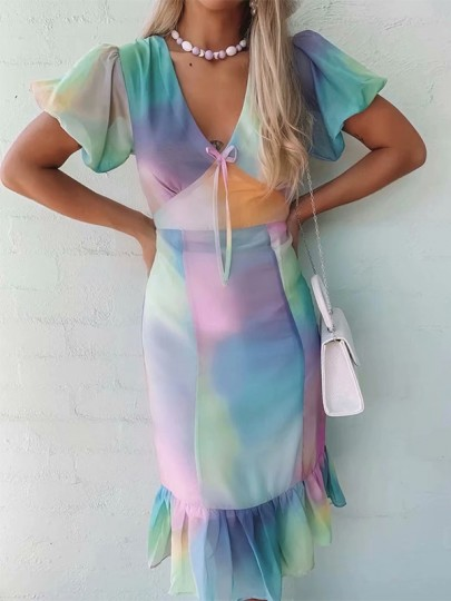 Pink Blue Colorful Tie Dye Gradient Ruffle Short Sleeve V-neck Fashion Prom Midi Dress