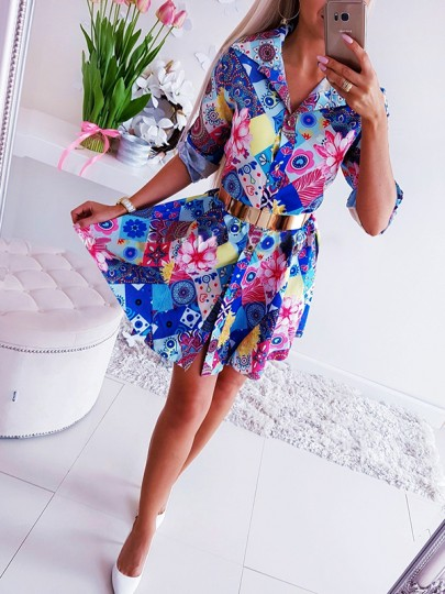 Multicolor Floral Colorful Belt Pattern A-Line Multi Way Going out Midi Dress