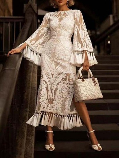 White Floral Embroidery Tassel Side Slit Flare Sleeve Party Midi Dress