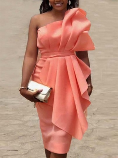 Pink Bandeau Big Bow Irregular Belt Sleeveless Homecoming Party Elegant Midi Dress