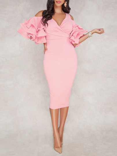 Pink Zipper V-neck Layers Of Ruffle Sleeve Slit Bodycon Work Midi Dress