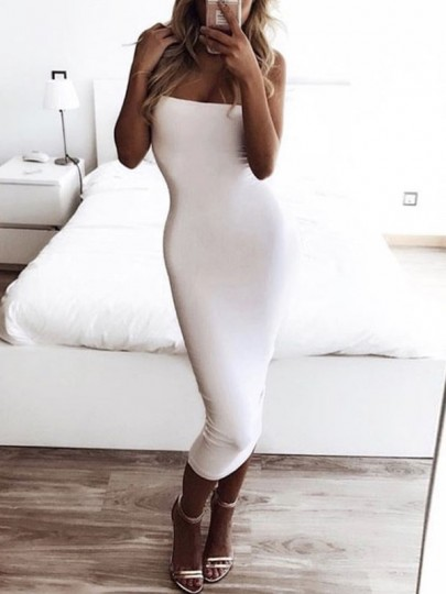 White Bodycon Sleeveless Cocktail Party Elegant Midi Dress