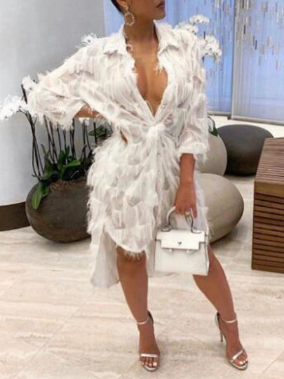 White Patchwork Tassel Feather Turndown Collar Swallowtail High-low Banquet Party Midi Dress