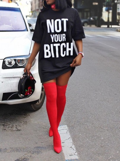 "Black ""NOT YOUR BITCH"" Short Sleeve Round Neck Casual Mini Dress"