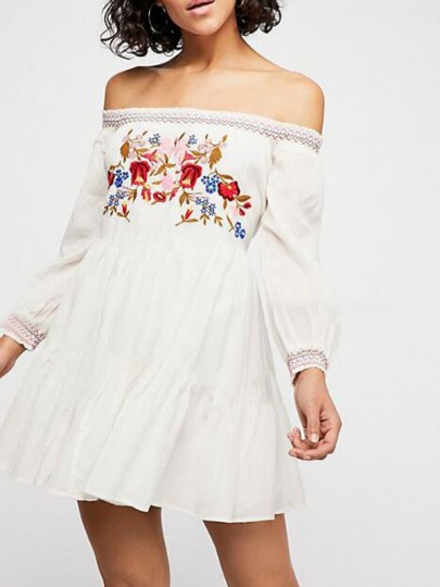 White Floral Embroidery Off Shoulder Backless Pleated Vintage Mexican Flowy Bohemian Mini Dress