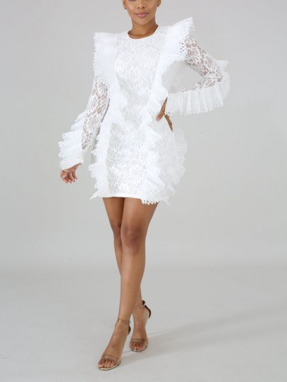 White Patchwork Lace Cascading Ruffle Bodycon Round Neck Long Sleeve Party Mini Dress