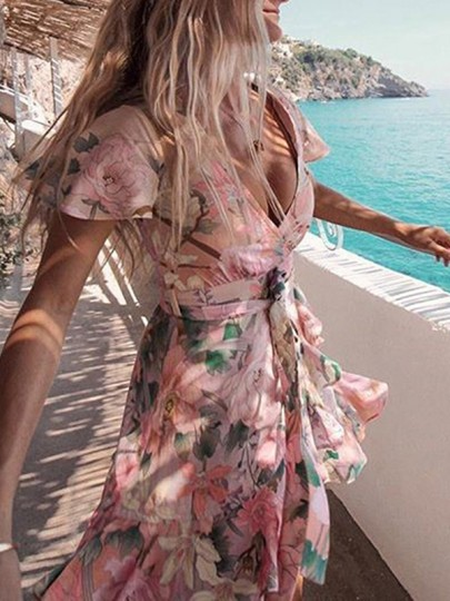 Pink Floral Print Wrap Ruffle Sashes Vintage Vacation Flowy Casual Mini Dress